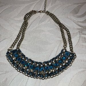 💥3/$25 Zara blue and gold statement necklace